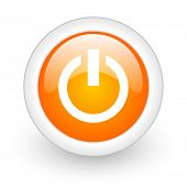 power orange glossy web icon on white background