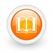 book orange glossy web icon on white background
