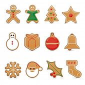 Collection of twelve gingerbread cookie icons vector illustration with 3d effect