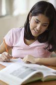 pic of homework  - Teenage girl doing homework - JPG