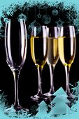 Christmas frame showing three full glasses of champagne and one empty