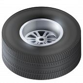 Tire and wheel of car. Top view.