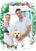 Pet owner and vet with Xray of dog against christmas themed frame