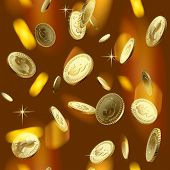 Vector image of the shining gold money rain. Square seamless pattern background