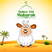 stock photo of bakra  - illustration of sheep wishing Bakra Id mubarak - JPG
