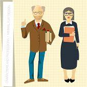 Professors couple in flat modern style. Vector illustration.