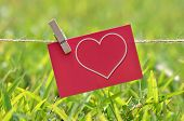 photos on a rope symbol Valentine pinned clothespins, closeup