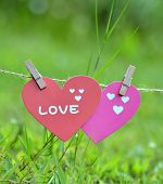 Decorative hearts hanging on the  Natural background , valentine theme