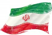 waving iranian grunge flag. A grunge flag of iran in the wind with a texture