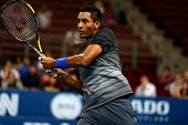 SEPTEMBER 23, 2014 - KUALA LUMPUR, MALAYSIA: Nick Kyrgios of Australia reacts after making a return