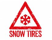 Red Stamp on a white background - Snow Tires