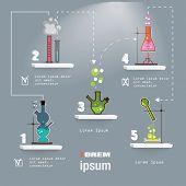 Chemistry laboratory infographic flat elements on grey background vector illustration.