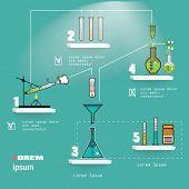 Chemistry laboratory infographic flat elements on blue background vector illustration.