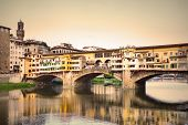 Ponte Vecchio bridge in Florence, Italy. Sepia toned.