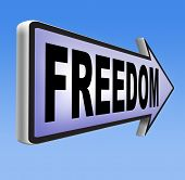 freedom peaceful free life without restrictions or obligations and peace democracy with text and word concept