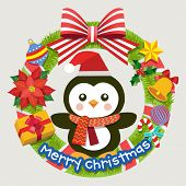 Christmas wreath with Christmas decoration and penguin. Vector illustration