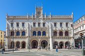 Lisbon, Portugal. August 31, 2014: The Rossio Railway Station entrance. A 19th century train station built in the neo-manueline style that serves the Sintra line.