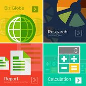 Set of flat design business concepts, banners. Calculation, report pages sheets charts graphs and green globe design