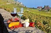 Wine and vegetables. Lavaux, Switzerland