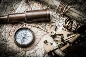stock photo of compasses  - vintage still life with compass  - JPG