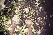Catching wishes. Focus on Jar, Instagram effect.
