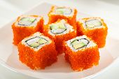 picture of masago  - California Maki Sushi with Masago   - JPG