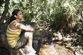 Teenage girl (16-17 years) sitting on tree trunk by stream in forest