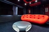 Red Sofa At Home Cinema