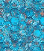 Hexagonal Blue Grungy Metal Tiled Seamless Texture