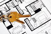 Tasten auf einer Floorplan Konzepte der Immobilienbesitz