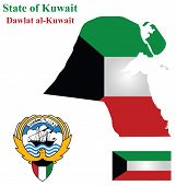 image of kuwait  - Flag and coat of arms of the Arabic country State of Kuwait overlaid on detailed outline map isolated on white background - JPG