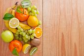 stock photo of fruits  - Fresh fruits.Fresh fruits Isolated on wooden background.