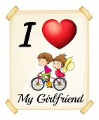 Illustration of I love my girlfriend sign