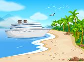 Illustration of a cruise porting on the shore