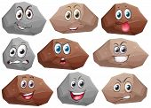 Illustration of rocks with facial expressions