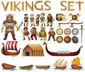 stock photo of viking ship  - Illustration of a set of vikings - JPG