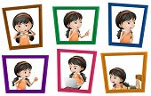 Illustration of many photos of a girl