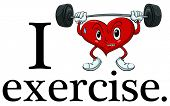Illustration of i love exercise