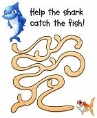 Illustration of a puzzle game with shark and fish