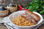 juicy Roasted Bavarian sausages with the stewed cabbage