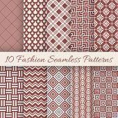 Fashion marsala color seamless pattern set. Vector illustration