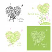 Vintage cards with lacy decorative trees