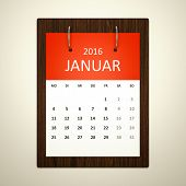 An image of a german calendar for event planning 2016 january