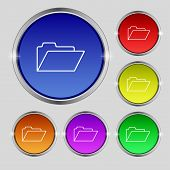 Document Folder Sign. Accounting Binder Symbol. Set Of Coloured Buttons. Vector