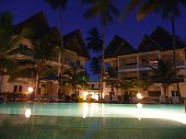 Night view of tropical resort in Africa