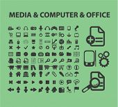 media, computer, office concept - flat isolated icons, signs, illustrations set, vector