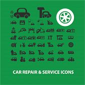 car repair, auto service concept - flat isolated icons, signs, illustrations set, vector