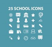 25 school, education, science concept - flat isolated icons, signs, illustrations set, vector