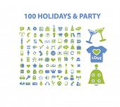 100 holidays, party, event concept - flat isolated icons, signs, illustrations set, vector