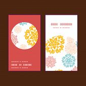 Vector abstract decorative circles stars vertical round frame pattern business cards set